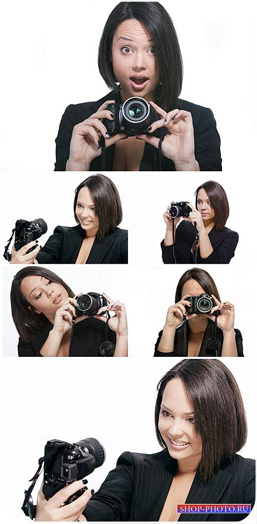 Девушка с фотоаппаратом / Girl with camera - Stock Photo