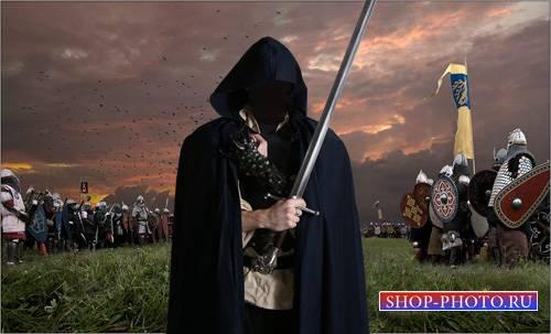 Шаблон psd - Таинственный воин с мечом