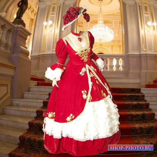 Шаблон для Photoshop - В шляпе из роз и платье