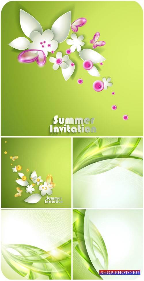 Летние векторные фоны с цветами и абстракцией / Summer vector background wi ...