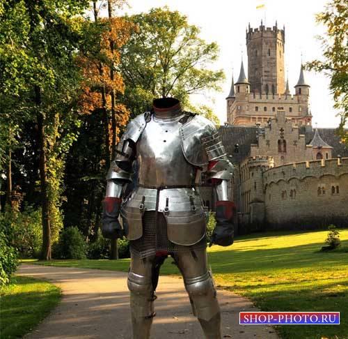 Шаблон для фото - Рыцарь в доспехах у своей крепости