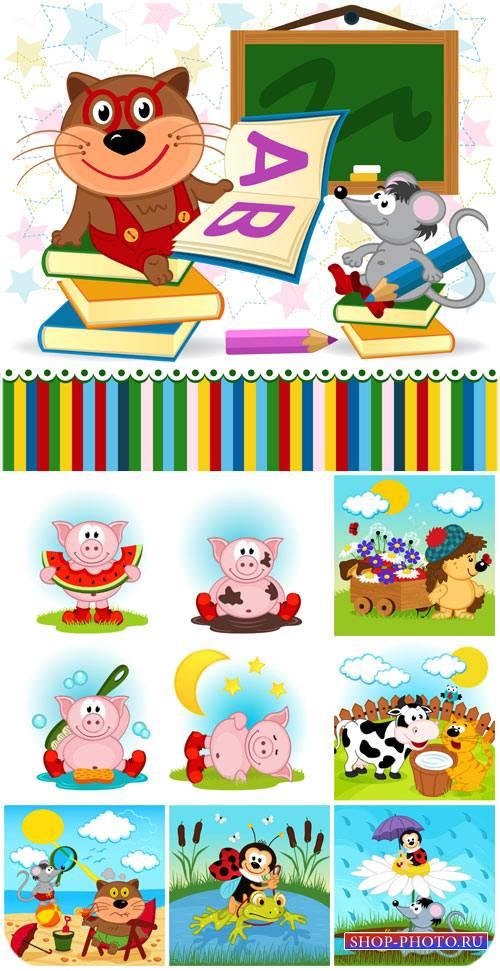 Животные, детский вектор / Animals, children vector
