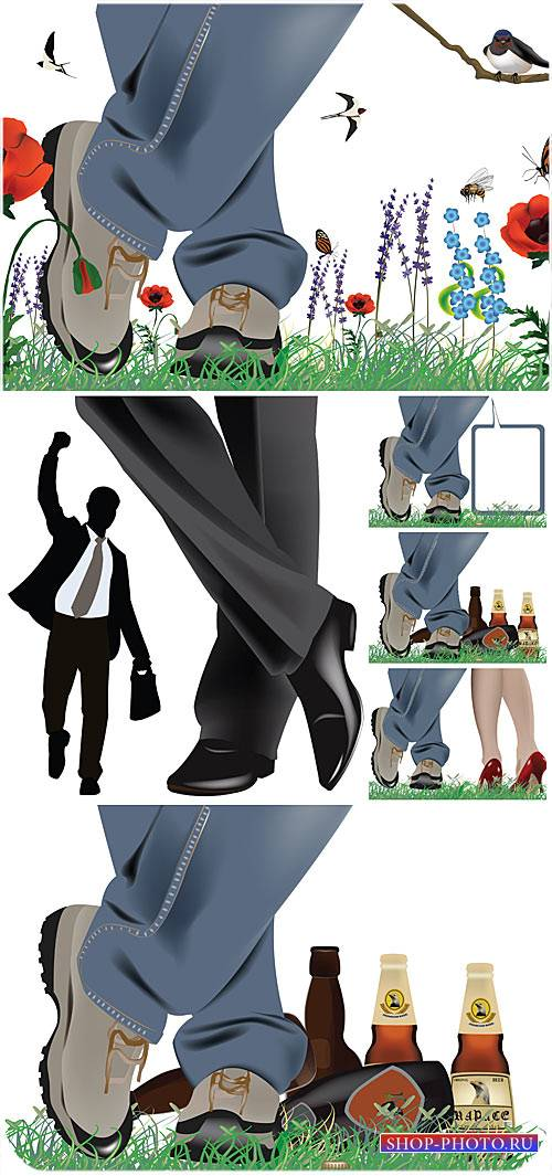 Женские и мужские ноги в векторе / Women's and men's feet in a vector