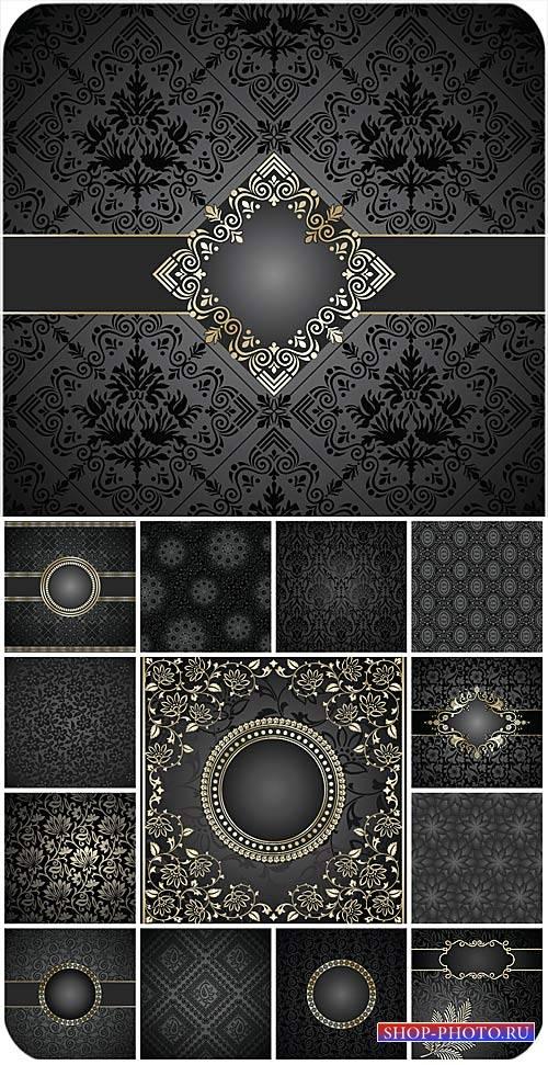 Фоны с узорами, золотые векторные орнаменты / Backgrounds with ornaments, g ...