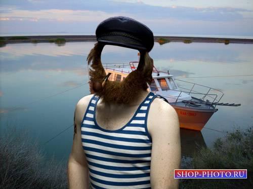 Шаблон для Photoshop - Боцман в тельняшке