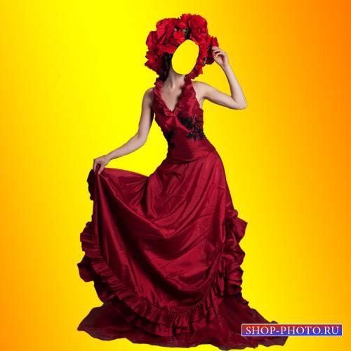 Шаблон для Photoshop - Красное платье для девушек