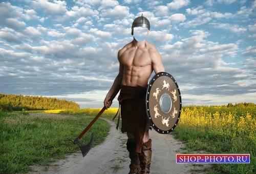 Шаблон мужской - Воин с топором и щитом