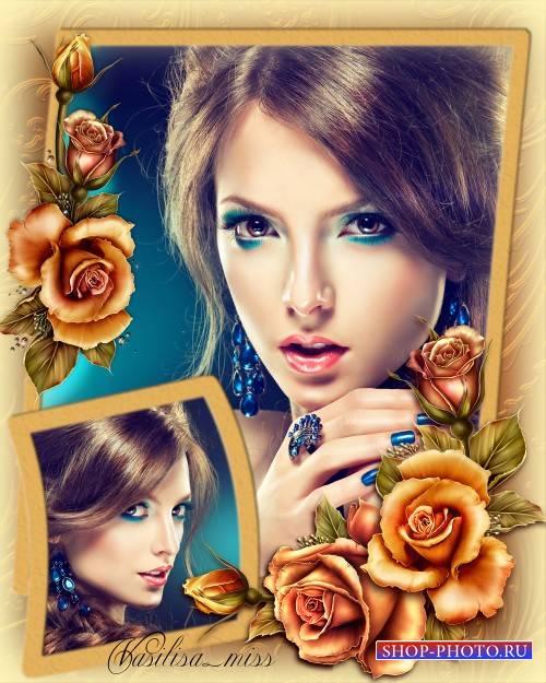 Женская рамка - Нежные розы