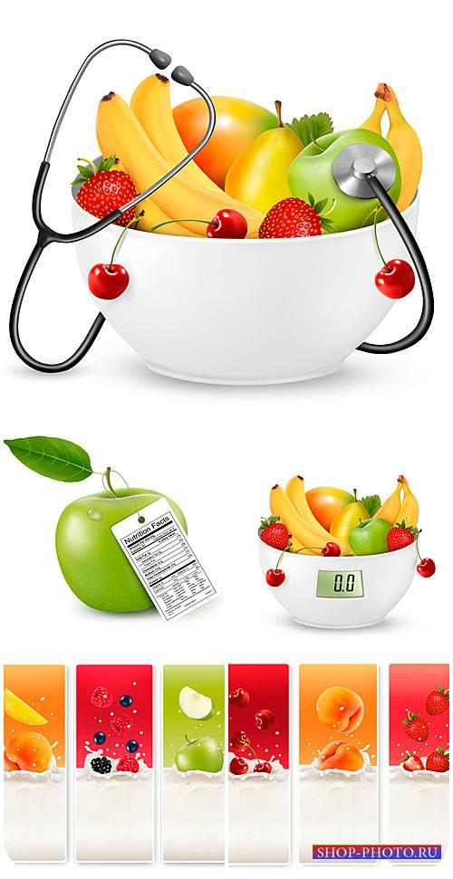 Фрукты и ягоды в векторе, баннеры с фруктами / Fruits and berries vector ba ...