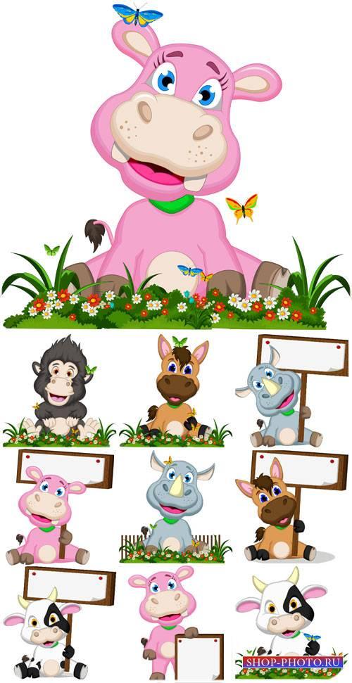 Животные с табличками, лошадка, носорог в векторе / Animals, horse, rhino v ...