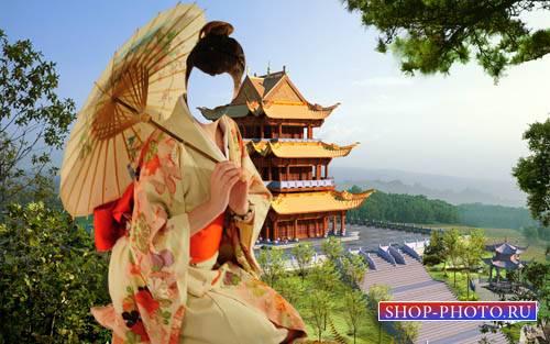 Шаблон для фото - Девушка в костюме гейши