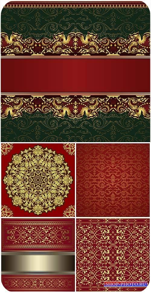 Красные векторные фоны с золотыми винтажными узорами / Red vector backgroun ...