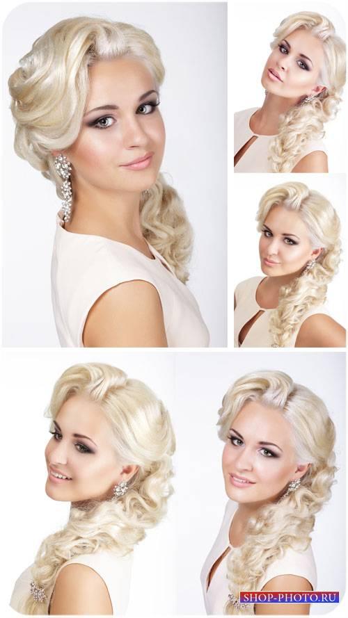 Красивая девушка с длинными белыми волосами / Beautiful girl - Stock Photo