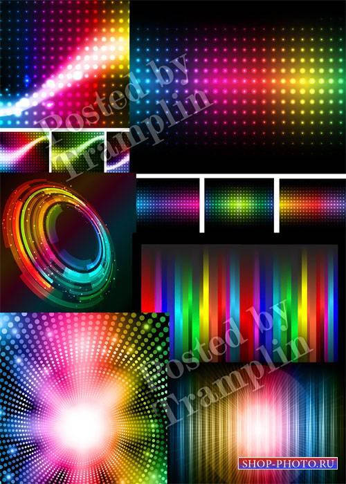 Радужные светящиеся фоны в векторе - Iridescent shining backgrounds in a ve ...