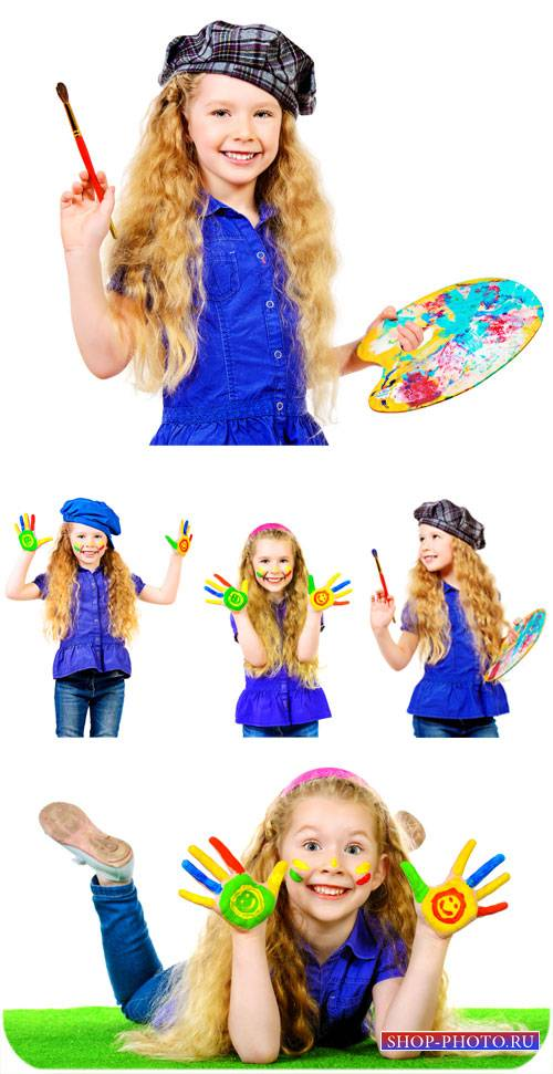 Девочка рисует красками / Girl draws paints - Stock photo