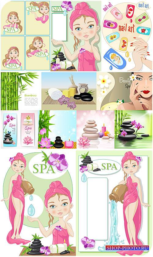 Spa процедуры, спа уход за телом, спа массаж в векторе / Spa treatments, sp ...