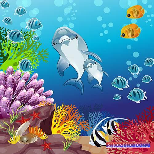 Многослойный Клипарт - Подводный мир дельфинов
