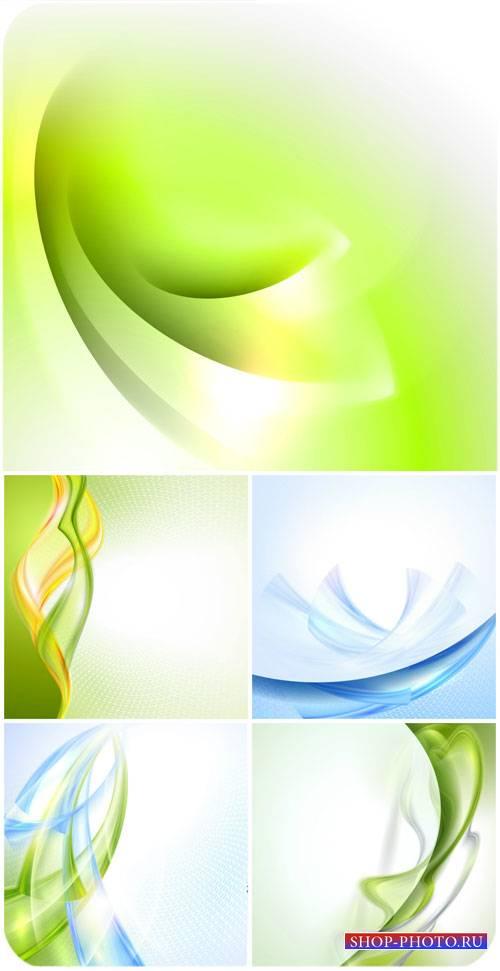 Векторные фоны с голубой и зеленой абстракцией / Vector background with blu ...