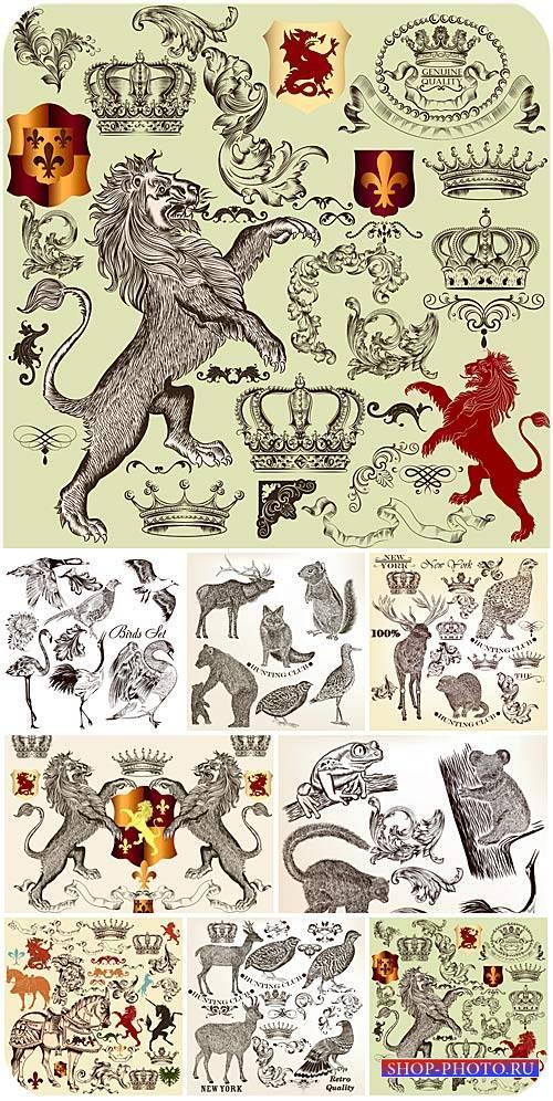 Животные, дизайнерские элементы в векторе / Animal, lion, bear, horse, desi ...
