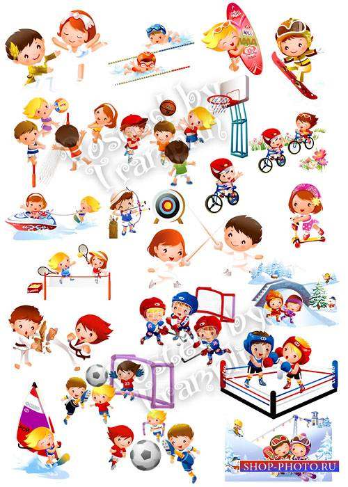 Дети, спорт, отдых на прозрачном фоне