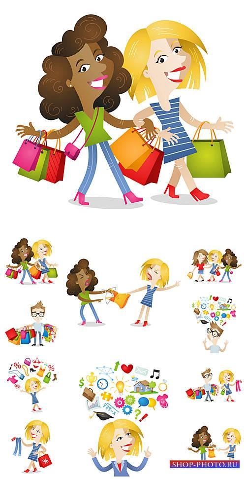 Люди и покупки в векторе / People shopping in the vector