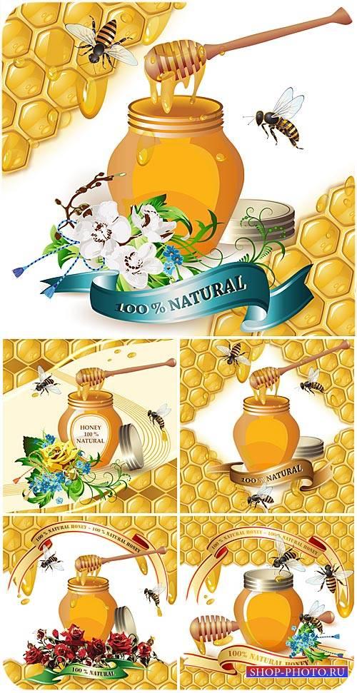 Мед, цветы и пчелы в векторе / Honey, flowers and bees vector