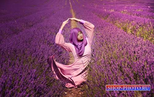 Шаблон для Photoshop - Чудесное лавандовое поле