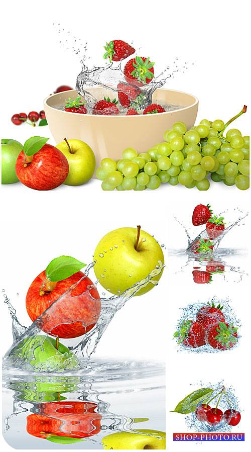 Фрукты и ягоды в воде / Fruits and berries in water - Stock Photo