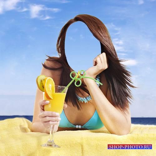 Шаблон для фотошопа - Летом на пляже