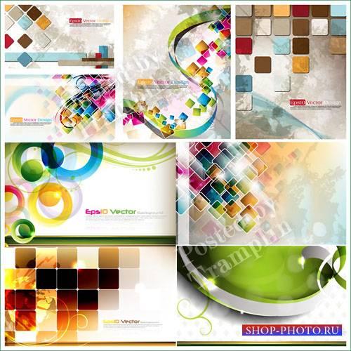 Векторные фоны с квадратами и кругами - Vector backgrounds with squares and ...