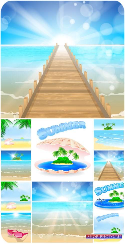 Морские фоны в векторе, пейзажи / Marine backgrounds vector, landscapes