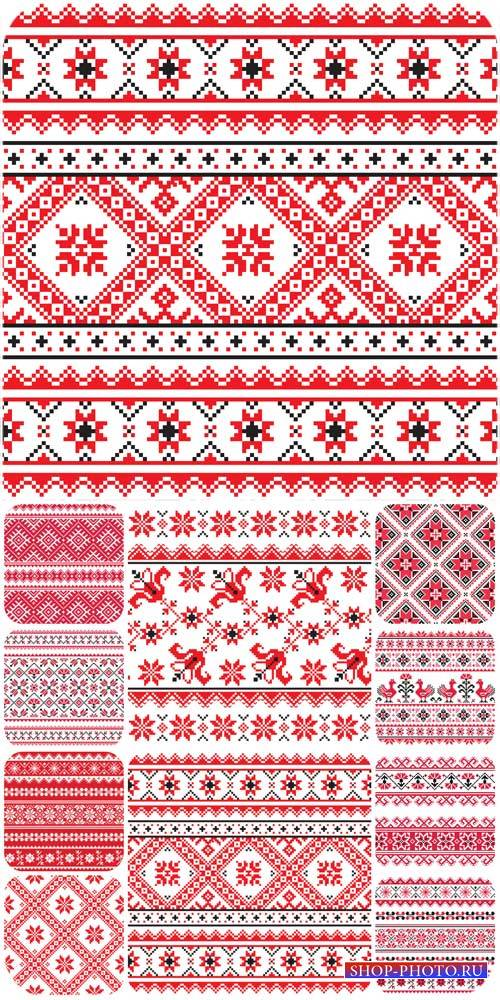 Вишиванка, векторные текстуры с орнаментами / Embroidery, vector texture wi ...