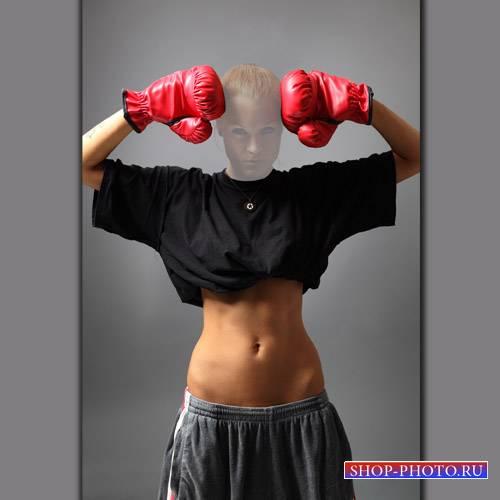 Шаблон psd женский - Девушка боксер