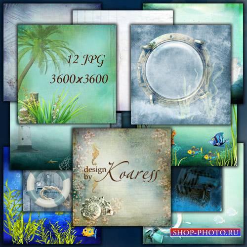 Набор морских фонов с пальмами, водорослями, рыбками, чайками, ракушками