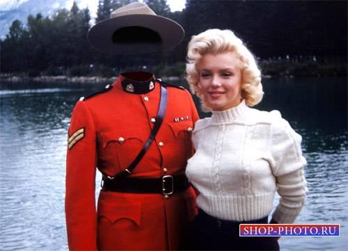 Шаблон psd мужской - Старое фото со знаменитой Мэрилин Монро