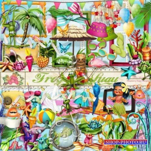 Яркий тропический скрап-комплект - Лягушонок Луа