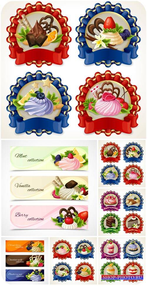 Этикетки с кексами, баннеры в векторе / Labels with cupcakes, banners vecto ...