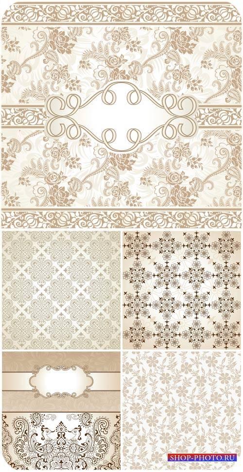 Фоны с узорами, цветочные орнаменты в векторе / Backgrounds with patterns,  ...