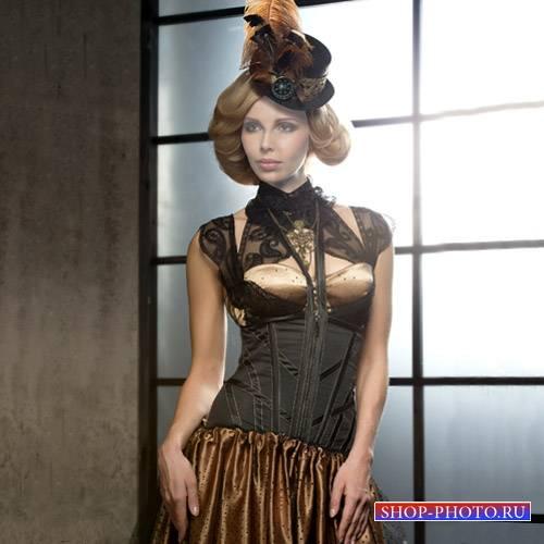 Девушка в красивом платье и шляпке - Шаблон psd