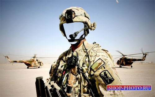 Военный в экипировке - Шаблон psd мужской