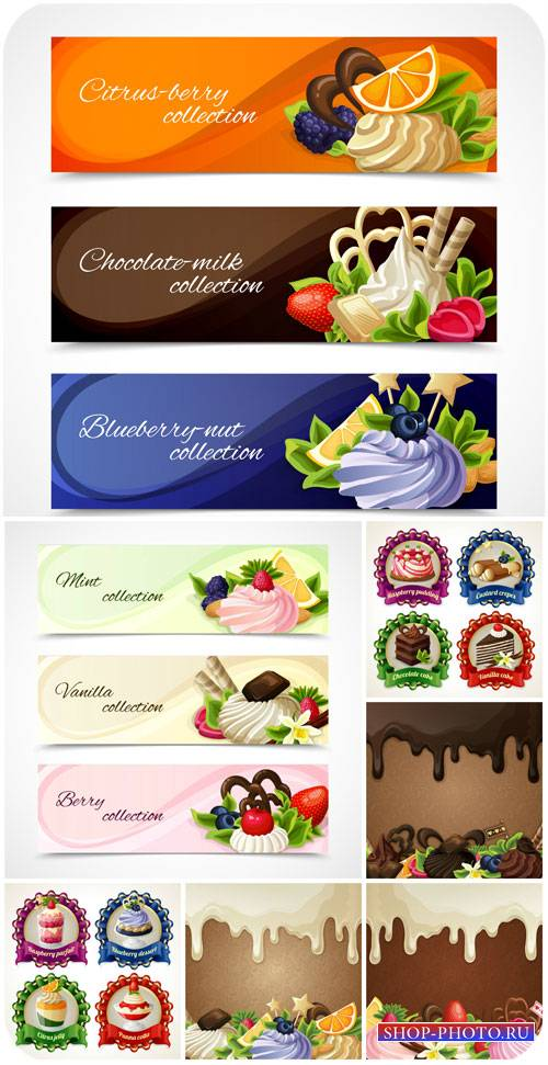Этикетки и баннеры в векторе, кексы / Labels and banners vector, cupcakes