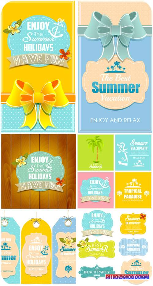 Летние этикетки и фоны в векторе / Summer labels and backgrounds vector