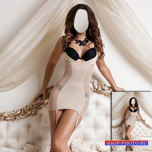 Шикарная девушка стоя на кровати - Женский шаблон