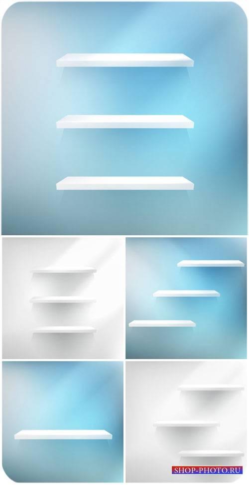 Векторные фоны с полочками / Vector backgrounds with shelves