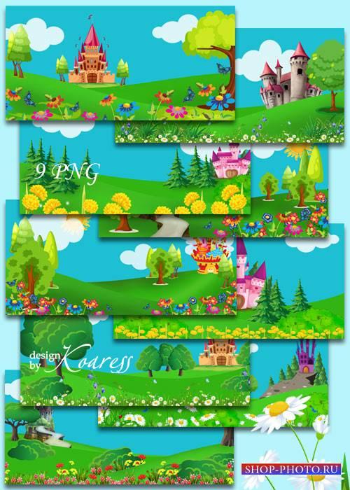 Детские фоны с нарисованными замками, цветами, деревьями