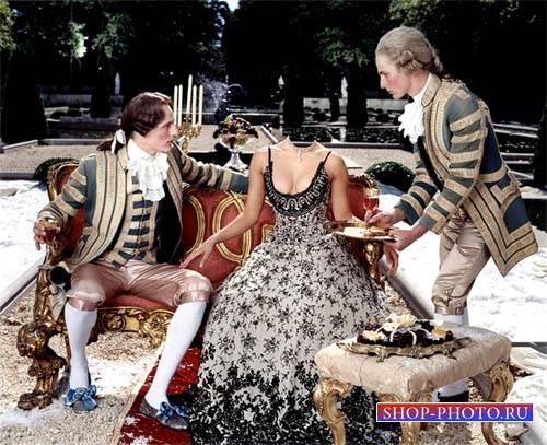 Дворянка в наряде с двумя лакеями - Шаблон женский