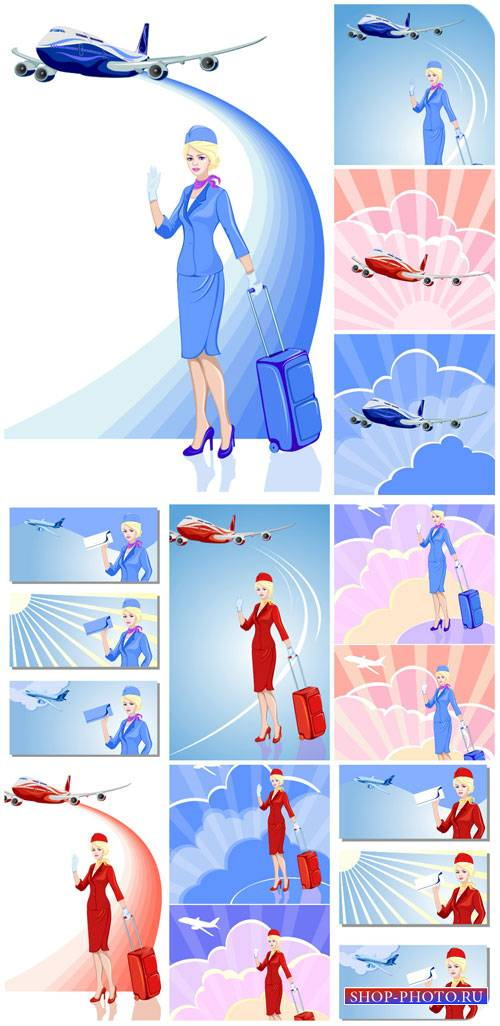 Путешествия, стюардесса и авиатранспорт в векторе / Travel, stewardess, avi ...