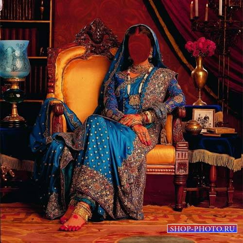 Девушка в красивом платье Индии - Шаблон psd женский