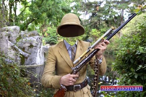 Шаблон для фото - Охота с ружьем в лесу