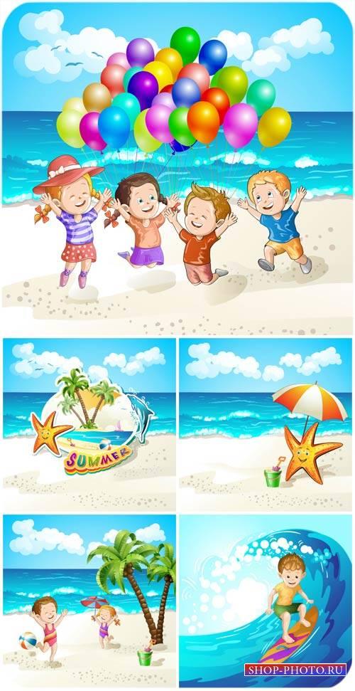 Дети на море, летние векторные фоны / Children of the sea, summer vector ba ...